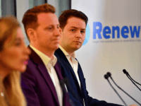 (L-R) Renew Party principals Sandra Khadhouri, James Clarke and James Torrance attend the launch of the 'Renew' anti-Brexit political party in London on February 19, 2018. A new anti-Brexit centrist political party held its official launch in London on February 19, one of several initiatives by pro-European Union campaigners drawing hope from a perceived shift in the British public's mood. / AFP PHOTO / BEN STANSALL (Photo credit should read BEN STANSALL/AFP/Getty Images)