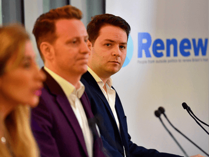 (L-R) Renew Party principals Sandra Khadhouri, James Clarke and James Torrance attend the launch of the 'Renew' anti-Brexit political party in London on February 19, 2018. A new anti-Brexit centrist political party held its official launch in London on February 19, one of several initiatives by pro-European Union campaigners drawing …
