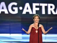 SAG-AFTRA President Gabrielle Carteris speaks at the 24th annual Screen Actors Guild Awards at the Shrine Auditorium & Expo Hall on Sunday, Jan. 21, 2018, in Los Angeles. (Photo by Vince Bucci/Invision/AP)