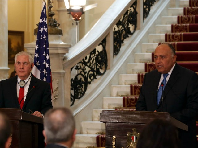 US Secretary of State Rex Tillerson (L) gives a press conference with Egyptian Foreign Minister Sameh Shoukry in Cairo on February 12, 2018. / AFP PHOTO / POOL / Khaled ELFIQI (Photo credit should read KHALED ELFIQI/AFP/Getty Images)