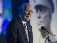 Sen. Pat Roberts, R-Kansas, chairman, Dwight D. Eisenhower Memorial Commission, speaks, with former presidential candidate Bob Doyle image, left, projected behind him, during the groundbreaking of the Dwight D. Eisenhower Memorial, in Washington, Thursday, Nov. 2, 2017. The memorial will be located on four acres of land near the National …