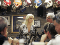 In this May 6, 2009 photo, Stormy Daniels visits a local restaurant in downtown New Orleans. The Louisiana-born porn star announced Thursday, April 15, 2010 that she will not run for U.S. Senate in her home state, ending a yearlong flirtation with politics that began as incumbent Sen. David Vitter, …
