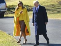 President Donald Trump and first lady Melania Trump walk toward Marine One on the South Lawn of the White House in Washington, Monday, Feb. 5, 2018. The Trumps are heading to Cincinnati. (AP Photo/Susan Walsh)
