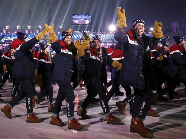 Members of the United States team wave during the opening ceremony of the 2018 Winter Olympics in Pyeongchang, South Korea, Friday, Feb. 9, 2018. (AP Photo/Jae C. Hong)