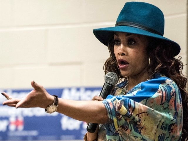 Vivica Fox signs autographs at Denmark Technical College while campaigning for Democratic presidential candidate Hillary Clinton Tuesday, Feb. 9, 2016 in Denmark, South Carolina. (Photo by Sean Rayford/Getty Images)