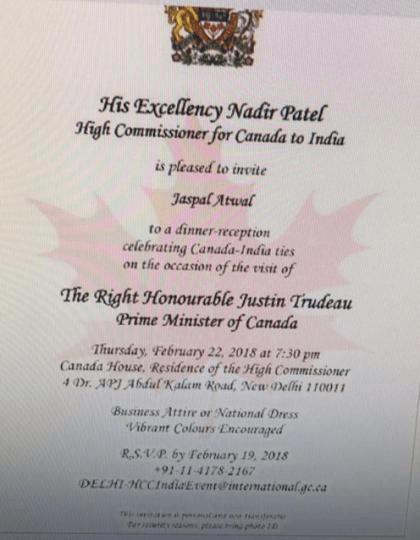 No J&K in India map at reception hosted for Canadian PM