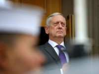 ARLINGTON, VA - FEBRUARY 01: U.S. Secretary of Defense James Mattis listens to the national anthem of the United States during an arrival ceremony with Gavin Williamson, Secretary of State for Defense, United Kingdom at the Pentagon February 1, 2018 in Arlington, Virginia. Mattis and Williamson were scheduled to meet …