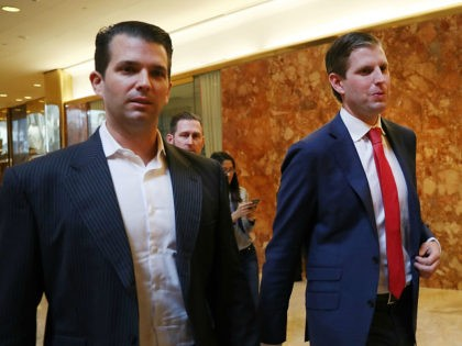 NEW YORK, NY - NOVEMBER 14: Donald Trump's sons Donald Trump Jr., (L), and Eric Trump, walk in Trump Tower on November 14, 2016 in New York City. Trump is in the process of choosing his presidential cabinet as he transitions from a candidate to the president elect. (Photo by …