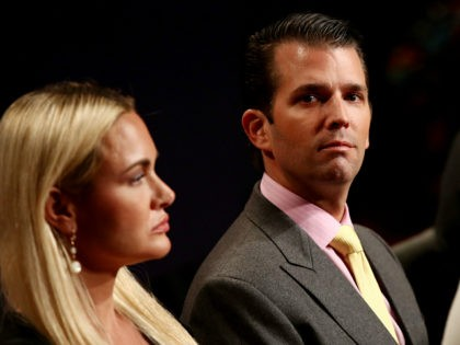 LAS VEGAS, NV - OCTOBER 19: Donald Trump Jr. and his wife Vanessa Trump wait for the start of the third U.S. presidential debate at the Thomas & Mack Center on October 19, 2016 in Las Vegas, Nevada. Tonight is the final debate ahead of Election Day on November 8. …