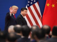 "US President Donald Trump (L) and China's President Xi Jinping leave a business leaders event at the Great Hall of the People in Beijing on November 9, 2017. Donald Trump urged Chinese leader Xi Jinping to work ""hard"" and act fast to help resolve the North Korean nuclear crisis, during …"