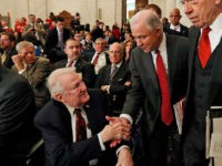Attorney General-designate, Sen. Jeff Sessions, R-Ala., center, accompanied by Senate Judiciary Committee Chairman Sen. Charles Grassley, R-Iowa, right, reaches to shake hands with former Attorney General Edwin Meese III, as they arrive on Capitol Hill in Washington, Tuesday, Jan. 10, 2017, for Sessions confirmation hearing before the committee. (AP Photo/Alex …