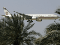 n this Sunday, May 4, 2014 photo, an Etihad Airways plane prepares to land in Abu Dhabi Airport, United Arab Emirates. Fast-growing Gulf carrier Etihad Airways says it and Alitalia have reached a deal in principle for the United Arab Emirates-based airline to buy a 49 percent stake in the …