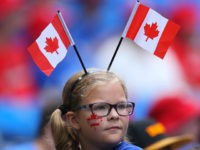 TORONTO, CANADA - JULY 1: A young fan of the Toronto Blue Jays celebrates Canada Day before the start of MLB game action against the Milwaukee Brewers on July 1, 2014 at Rogers Centre in Toronto, Ontario, Canada. (Photo by Tom Szczerbowski/Getty Images)