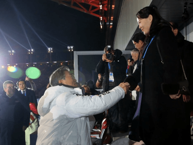 South Korean President Moon Jae-in shakes hands with Kim Yo Jong, Kim Jong Un's younger sister, during Opening Ceremonies. (Kim Ju-sung/Yonhap/AP)