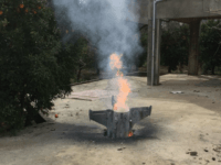Lebanon Israel Syria Flames rise from a missile, which according to the Lebanon national news agency appears to be part of a Syrian air defense missile targeting an Israeli warplane which landed in a lemon grove, in Hasbani village, southwest Lebanon, Saturday, Feb. 10, 2018. Lebanon is protesting Israel's use …