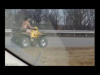 A naked man was arrested in Missouri Sunday after taking his all-terrain vehicle (ATV) for a joyride in the wrong direction on the interstate, leading the police on a high-speed chase, authorities said.