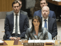 UN Palestine Jared Kushner, Nikki Haley, Jason Greenblatt Jared Kushner, left, and Jason Greenblatt, right, listen as American Ambassador to the United Nations Nikki Haley speaks during a Security Council meeting on the situation in Palestine, Tuesday, Feb. 20, 2018 at United Nations headquarters. (AP Photo/Mary Altaffer)