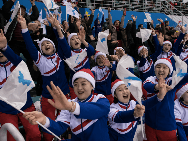 Korean cheerleaders take in S. Korean men's hockey game