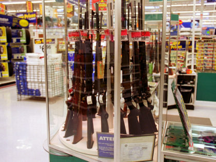 373812 02: Guns for sale at a Wal-Mart, July 19, 2000. Wal-Mart and one of their chief spokespeople, Rosie O''Donnell, are at odds over the issue of guns and whether they should be available at chain stores. (Photo by Newsmakers)