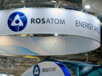 A picture taken on June 28, 2016 shows the logo of Russian atomic energy agency Rosatom during the World Nuclear Exhibition in Le Bourget, near Paris. / AFP / ERIC PIERMONT (Photo credit should read ERIC PIERMONT/AFP/Getty Images)