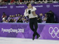 Alexei Bychenko of Israel performs during the men's short program figure skating in the Gangneung Ice Arena at the 2018 Winter Olympics in Gangneung, South Korea, Friday, Feb. 16, 2018. (AP Photo/David J. Phillip)