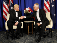 President Donald Trump shakes hands with Australian Prime Minister Malcolm Turnbull aboard the USS Intrepid, a decommissioned aircraft carrier docked in the Hudson River in New York, Thursday, May 4, 2017. (AP Photo/Pablo Martinez Monsivais)