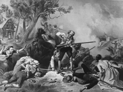 775: The first American casualties of the War of Independence, at Lexington, Massachusetts, where eight colonial militia men were killed when they stood their ground against an advance guard of the British forces. Original Artwork: Engraving by Donby. (Photo by Hulton Archive/Getty Images)
