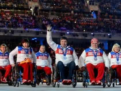 This photo taken March 16, 2014 shows Russia's delegation attending the Closing Ceremony of the XI Paralympic Olympic games at the Fisht Olympic Stadium near Sochi