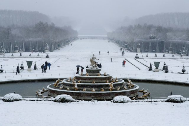 Visitors at the gardens of the Versailles Palace outside Paris on Tuesday