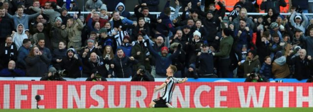 Matt Ritchie and the Newcastle fans were elated after he scored the only goal of the game against Manchester United