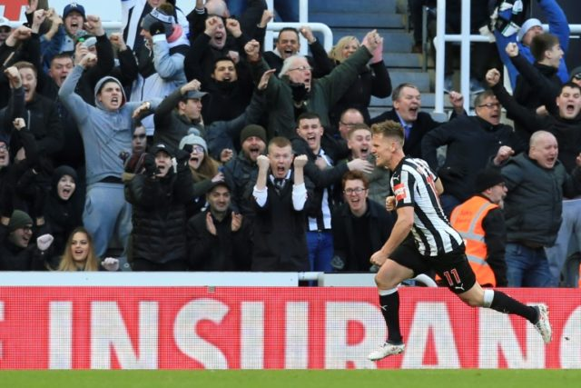 Newcastle midfielder Matt Ritchie celebrates after scoring during the English Premier League match against Manchester United at St James' Park in Newcastle-upon-Tyne, north east England on February 11, 2018