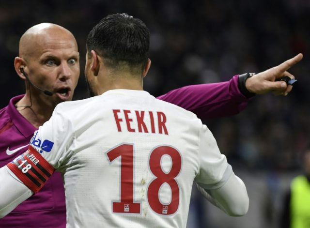 Lyon were furious after Nabil Fekir was denied what looked to be a certain penalty