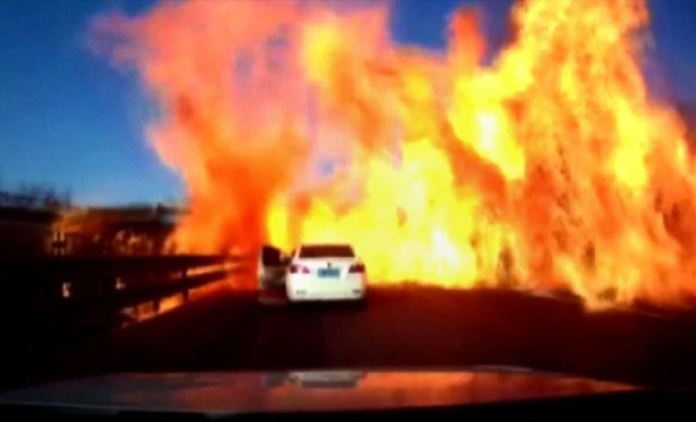 Gas spill sparks highway inferno in China