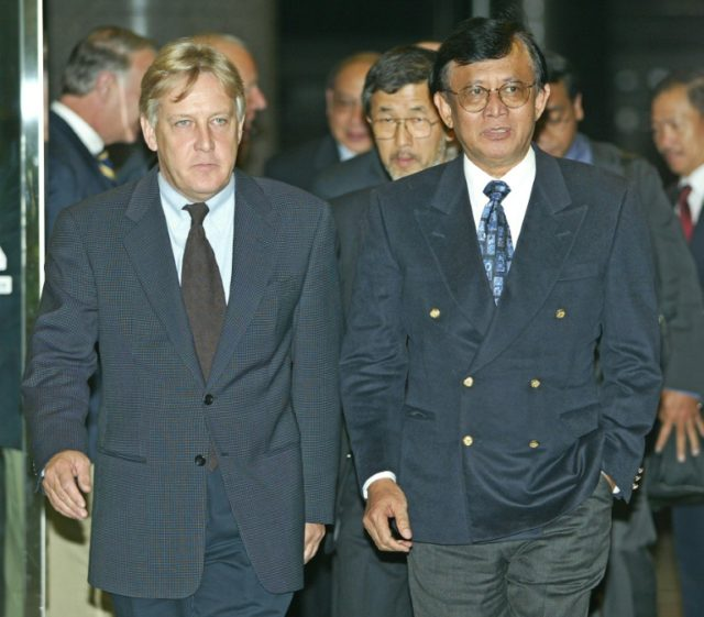 Martin Griffiths, left, seen here escorting the then Indonesian government chief negotiator Sastro Handoyo Wiryono in 2003, is set to be appointed as the new United Nations envoy to Yemen