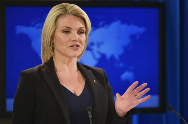 "State Department spokeswoman Heather Nauert accused Moscow in a statement of ""stoking"" a conflict in Ukraine three years after signing the Minsk Agreement, aimed at lessening the tension between Russia and Ukraine"