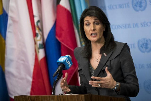 "US ambassador to the United Nations Nikki Haley is urging Russia to use its leverage to ""push the Assad regim to do what it plainly does not want to do"""