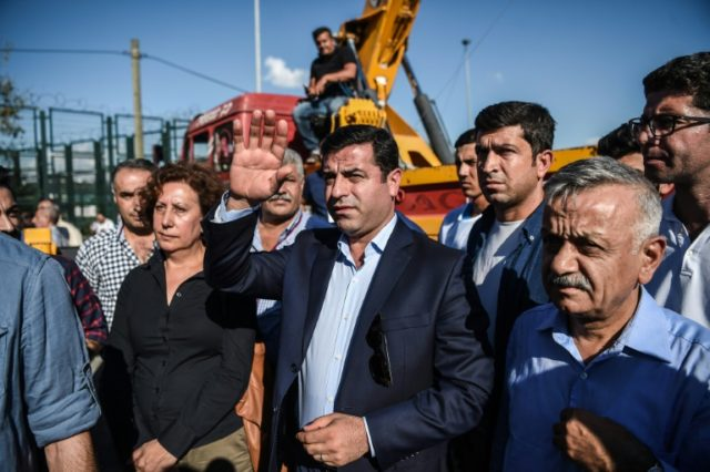 Pro-Kurdish Peoples' Democratic Party (HDP) co-leader Selahattin Demirtas, seen here at a rally before his arrest last year, says he has no chance of getting a fair trial