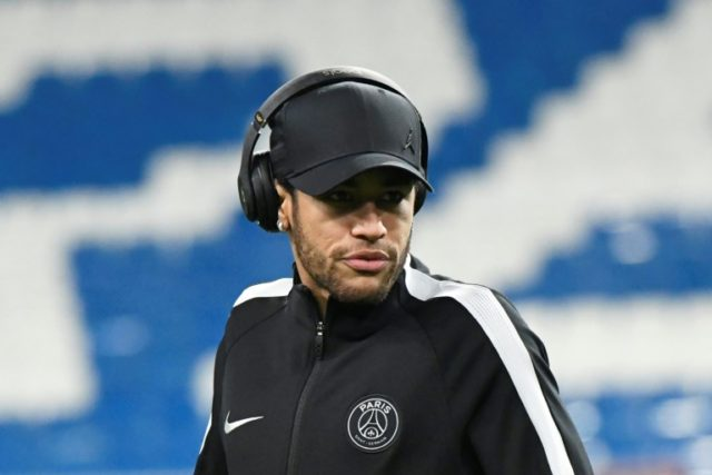 Neymar takes in the surroundings at the Santiago Bernabeu on Tuesday evening
