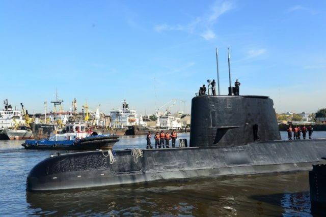 The ARA San Juan, shown here in an Argentine navy handout photo, when missing in the South Atlantic in November 2017 with 44 people aboard