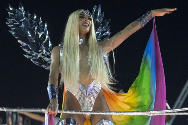Brazilian drag queen and singer Pabllo Vittar parades with the Beija Flor samba school during Rio's carnival