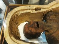 "A picture taken on February 14, 2018 shows the ""Screaming Mummy"" known scientifically as ""the unknown man E"" on display at the Egyptian Museum in Cairo's Tahrir Square"