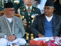 The communist party of new Prime Minister K.P. Sharma Oli (L) has merged with former Maoist rebels to form a new alliance