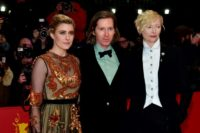 "British actress Tilda Swinton (R) and US actress Greta Gerwig with US director Wes Anderson at the opening of the Berlinale with the premiere of ""Isle of Dogs"", a favourite to win a top prize."