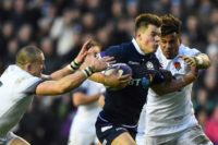 Huw beauty: Scotland centre Huw Jones grabbed two tries in the shock 25-13 win