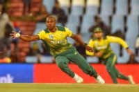 That's handy: Junior Dala starred with three wickets and a run-out