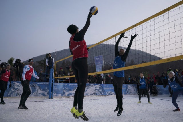 The Latest: Prince Albert touts snow volleyball at Olympics