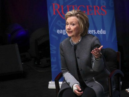 PISCATAWAY, NEW JERSEY - MARCH 29: Former Secretary of State and former First Lady Hillary Clinton speaks at Rutgers University, March 29, 2018 in Piscataway, New Jersey. Clinton is being paid $25,000 for her appearance. The money will come from a university endowment fund, according to a Rutgers spokeperson. (Photo …