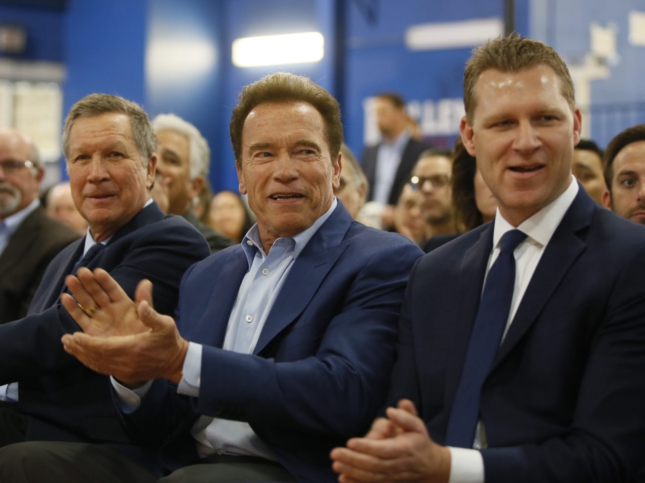 Arnold Schwarzenegger, John Kasich, Chad Mayes (Damian Dovarganes / Associated Press)