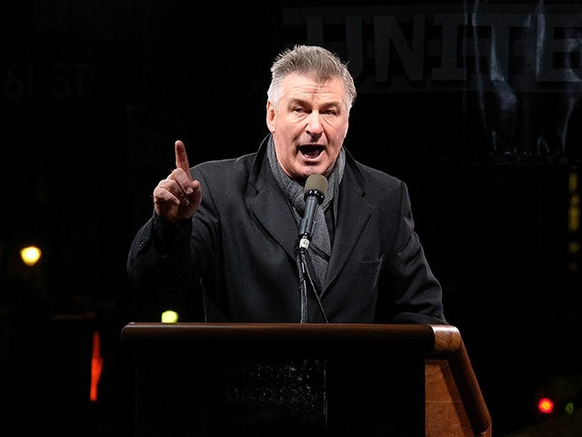 NEW YORK, NY - JANUARY 19: Alec Baldwin speaks onstage during the We Stand United NYC Rally outside Trump International Hotel & Tower on January 19, 2017 in New York City. (Photo by D Dipasupil/Getty Images)