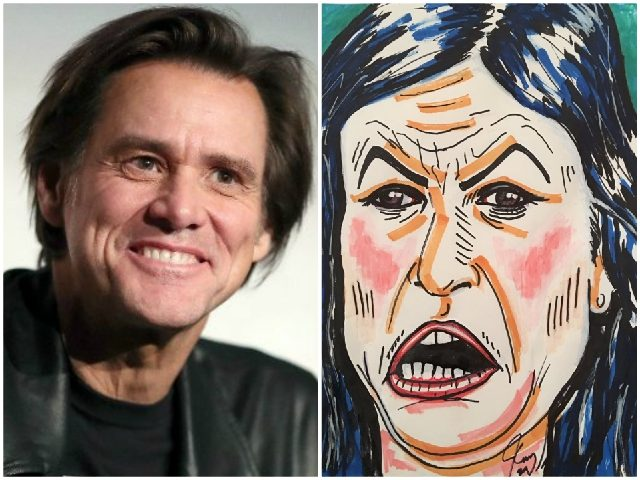 Jim Carrey unveils garish portrait of Sarah Sanders